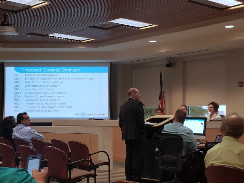 Chief Sustainability Officer Douglas Melnick briefs the Planning Commission on revisions made to the SA Tomorrow Sustainability Plan.  Photo by Iris Dimmick.