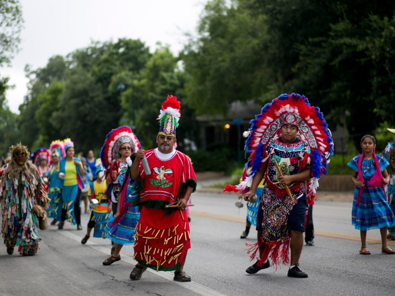 Mission Concepción Matachines dancers perform during the Pilgrimage to Mission San José. Photo by Kathryn Boyd-Batstone.