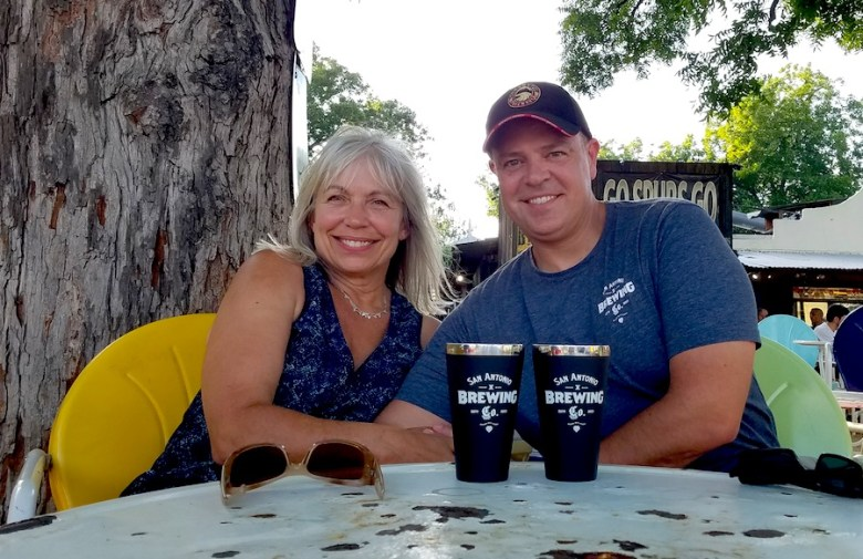 Vera (left) and Brent Deckard enjoy a drink at the Friendly Spot Ice House in Southtown. Photo by Iris Dimmick.