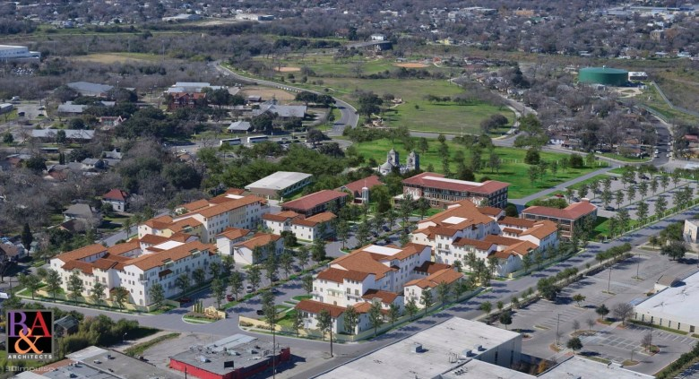Looking west from behind Mission Concepción, the existing historic structures already block the neighborhood's view of the Mission. The Villa Concepción apartments will be built east of those structures. Rendering courtesy of R&A Architects.