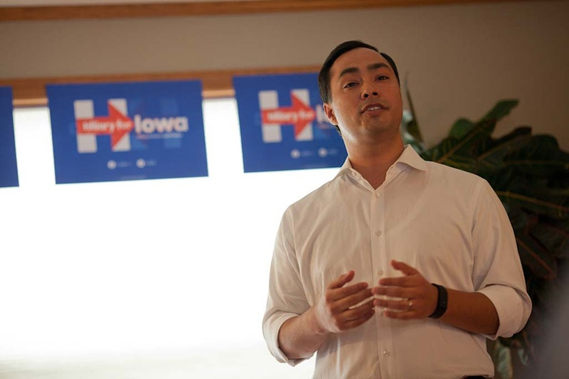 U.S. Rep. Joaquin Castro, D-San Antonio, speaks to a group of Hillary Clinton supporters at a campaign event held at the home of Mark and Sharon Naughton in Iowa City on Aug. 30, 2015. Photo by Rebecca F. Miller for the Texas Tribune.