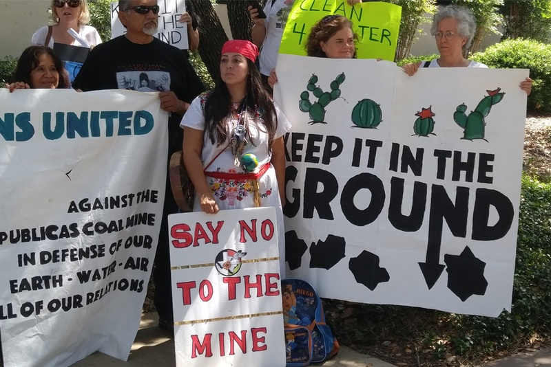 Many protested the coal mine from expanding its operations near the Rio Grande. Photo by Julián Aguilar for The Texas Tribune.