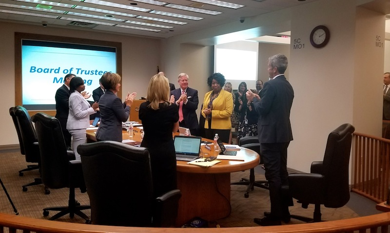 CPS Energy board members and executive staff applaud President and CEO Paula Gold-Williams. Photo by Iris Dimmick.