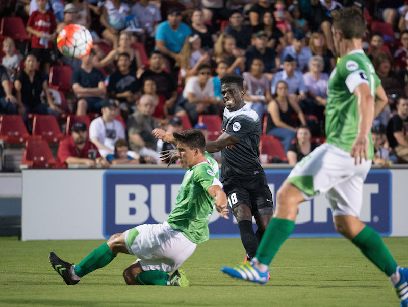 San Antonio FC forward Jason Johnson (center) goes up against two OKC Energy FC defenders during the second half the match on Saturday, July 9, 2016, at Toyota Field. The match ended in a 0-0 tie. Photo by Darren Abate for United Soccer League.