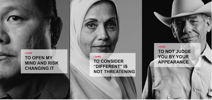 From left: Lowell T., Sarwat H., and Dana A. from Texas took the Dare to Listen pledge. Images courtesy of Texas Public Radio.