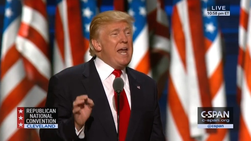 Republican Presidential nominee Donald Trump speaks at the final session of the Republican National Convention in Cleveland, Ohio on July 21, 2016. Image courtesy of C-SPAN.