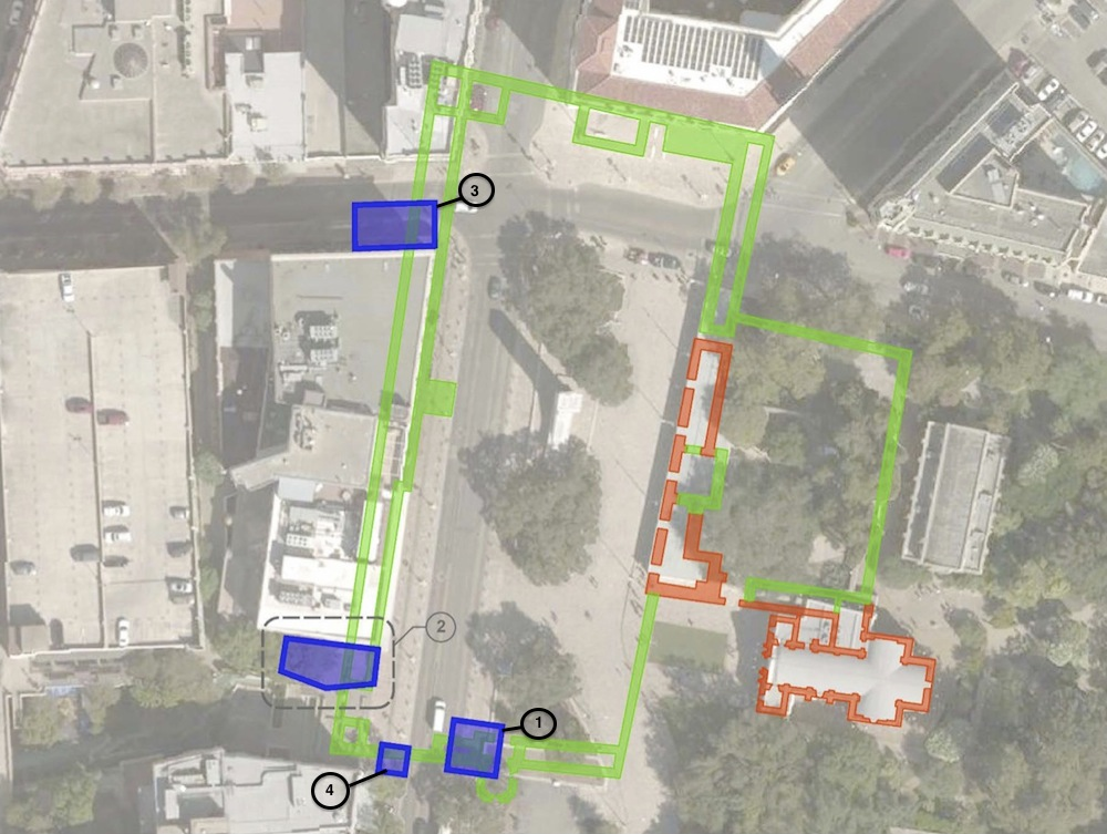 Potential archeological dig sites in and around Alamo Plaza. Image courtesy of Preservation Design Partnership, edited for clarity by the Rivard Report.