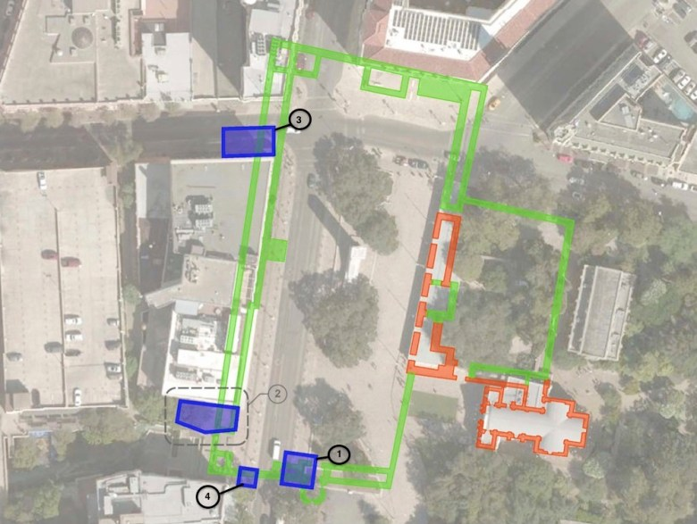 Potential archaeological dig sites in and around Alamo Plaza. Image courtesy of Preservation Design Partnership, edited for clarity by the Rivard Report.