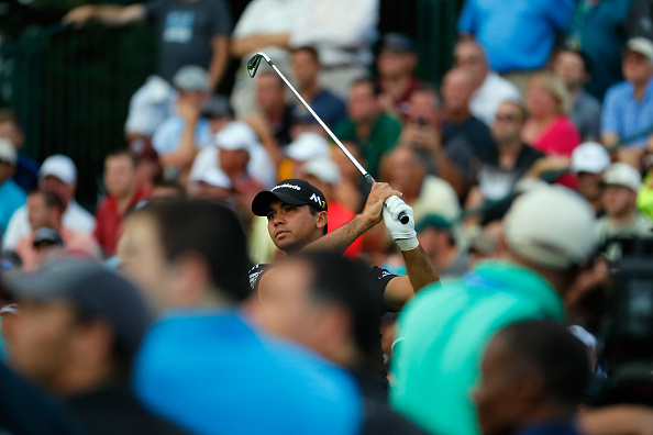 Jason Day of Australia plays his shot from the 13th tee during the final round of the 2016 PGA Championship at Baltusrol Golf Club on July 31, 2016 in Springfield, New Jersey. Photo by Kevin C. Cox/Getty Images