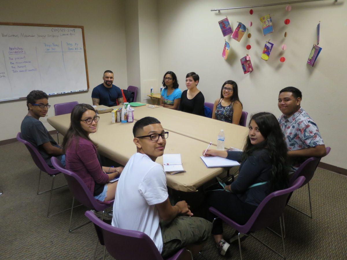Macondo participant and author Joe Jimenez leads a class during the inaugural Macondo Young Writers' Workshop. Photo courtesy of Joe Jimenez.