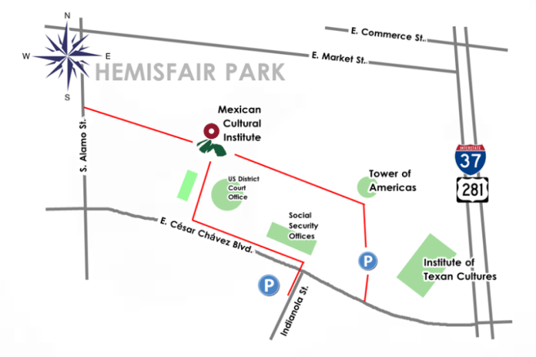 Parking for the Institute is available at Tower of the Americas for $11. Map courtesy of the Mexican Cultural Institute.