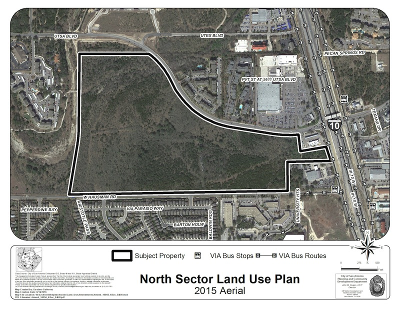 Developers plan to build a mixed-use complex of buildings and open space on this 114-acre parcel near UTSA. Image courtesy of the City of San Antonio.