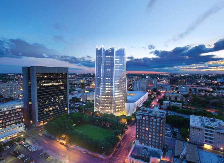 The new, proposed Frost Tower at night. Rendering by Pelli Clarke Pelli courtesy of Weston Urban.