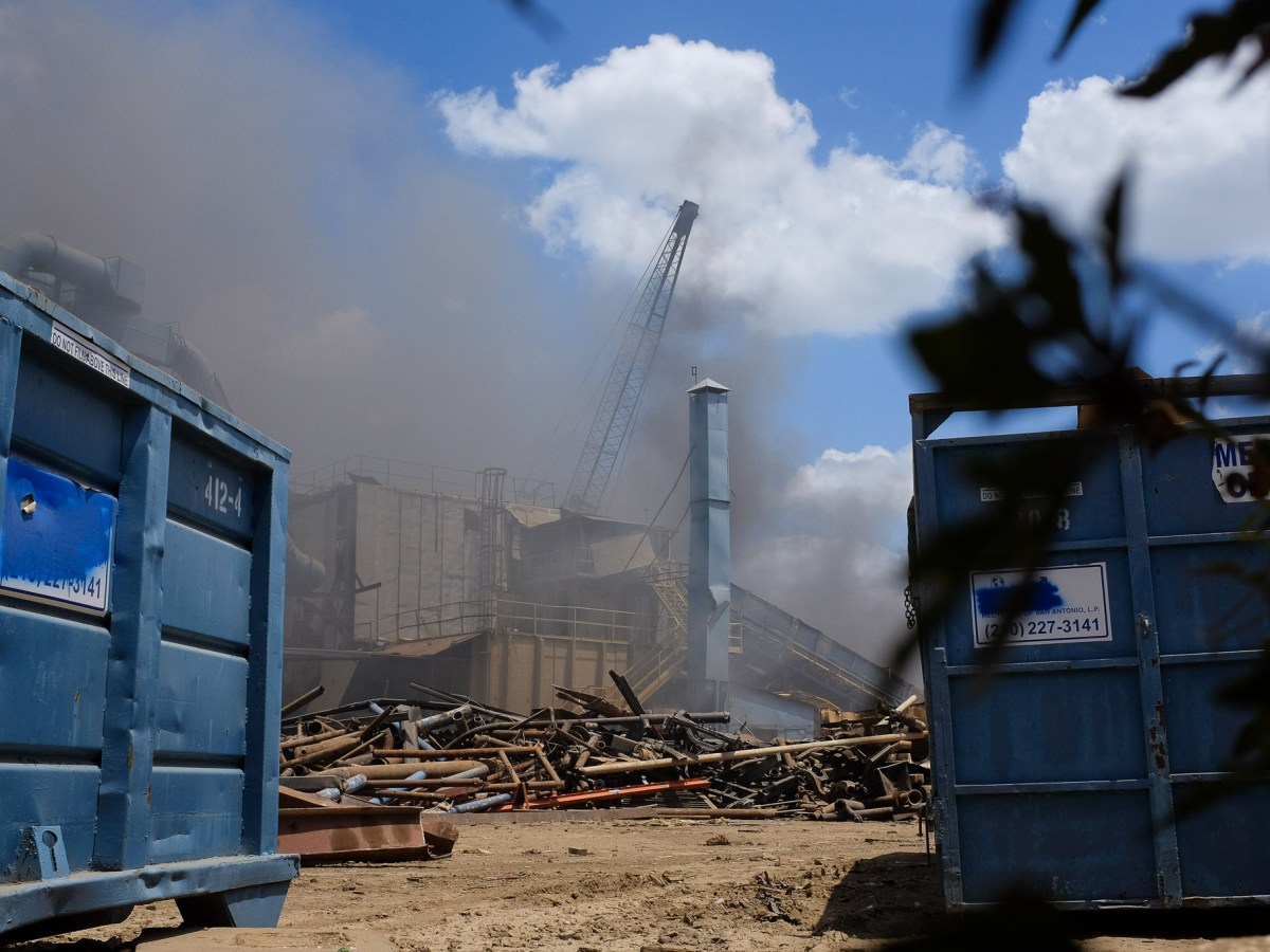 Smoke fills the air at CMC Recycling located at 726 Probandt Street. Photo by Scott Ball.