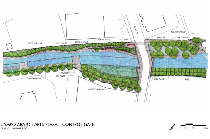 San Pedro Creek Improvements Project 70% design. Rendering courtesy of Muñoz & Company.