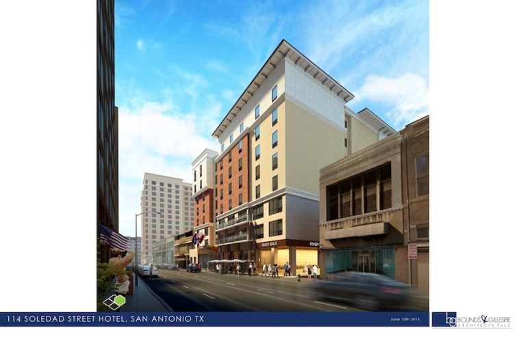 Street level perspective of the proposed nine-story hotel that would replace the Solo Serve building at 114 Soledad. Rendering courtesy of Bounds + Gillespie Architects.
