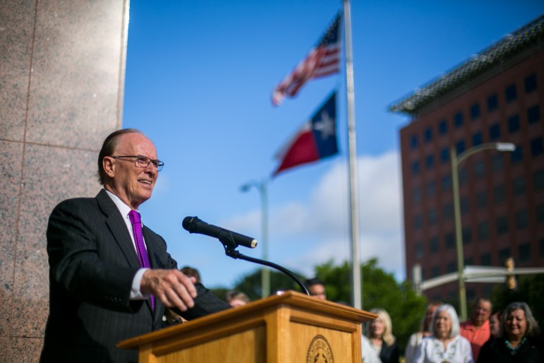 Bexar County Judge Nelson Wolff gives the opening remarks about The Daughters of the Republic of Texas' new facilities. Photo by Kathryn Boyd-Batstone.