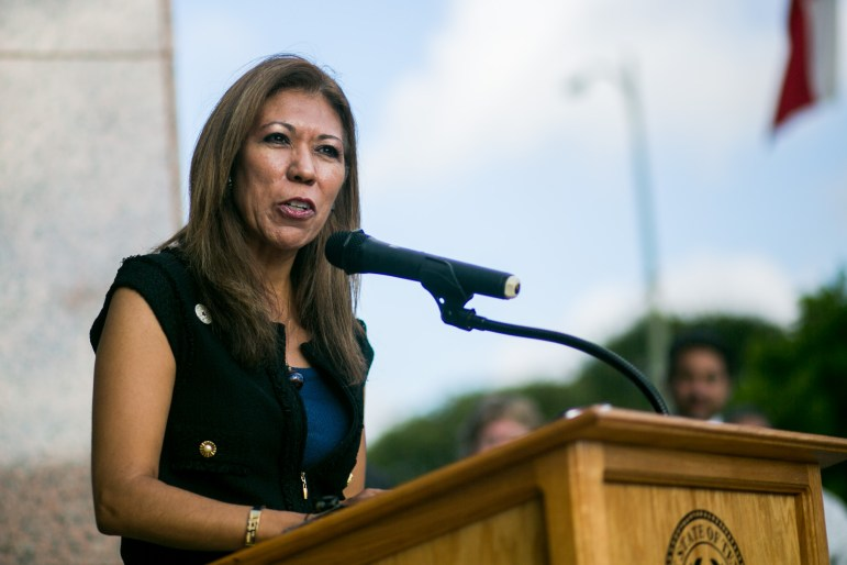Texas A&M University - San Antonio President Dr. Cynthia Teniente-Matson remarks about the new partnership between the university and Daughters of the Republic of Texas. Photo by Kathryn Boyd-Batstone.