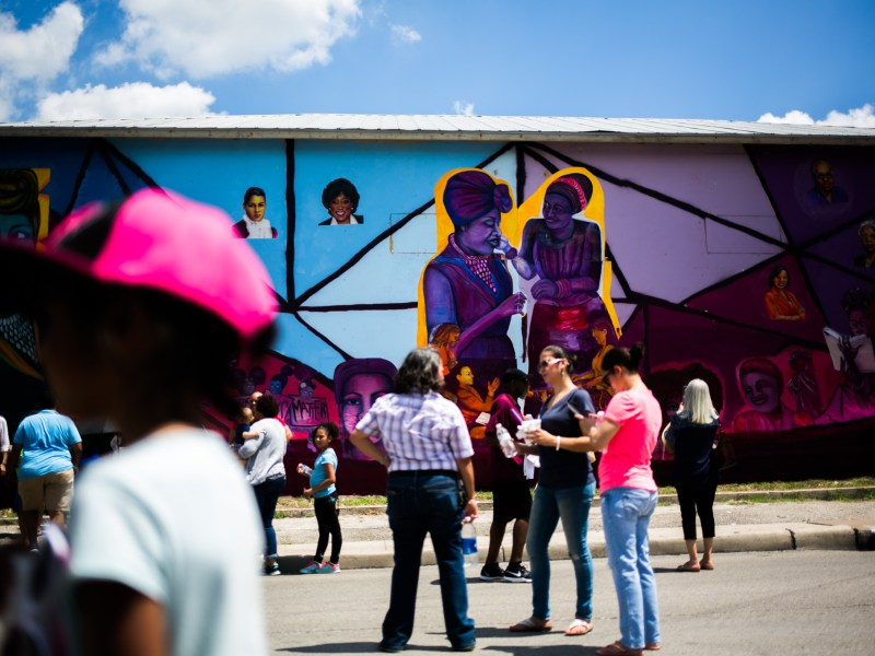 The mural is on 2603 E. Houston St. and features women like Ethel Minor, Ella Austin, Ruth Jones McClendon, Mayor Ivy Taylor, Artemisia Bowden, and Myra Davis Hemmings. Photo by Kathryn Boyd-Batstone.