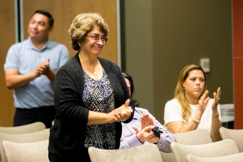Elda Flores, former Director of Pupil Services, is running for the District 7 spot on the South San ISD Board. Photo by Kathryn Boyd-Batstone.