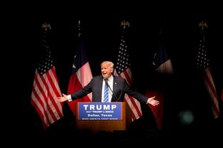 GOP presidential hopeful Donald Trump rallied supporters at Gilley's in Dallas on June 16, 2016. Photo by Allison V. Smith for the Texas Tribune.