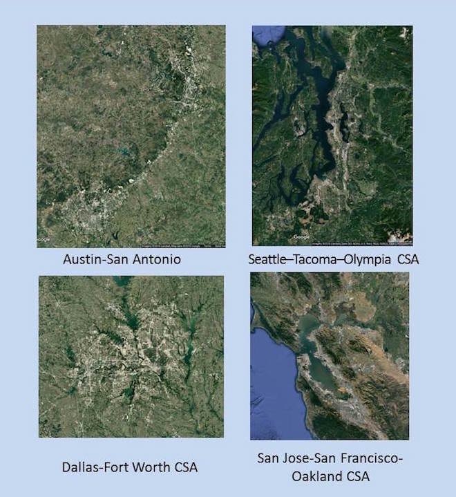 Google images compare the Austin-San Antonio region to others across the country. Rendering by Karl Baker via Google Earth.