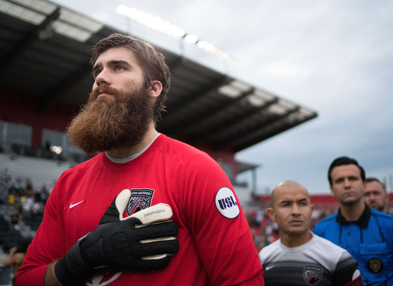 San Antonio FC goalkeeper Matt Cardone stands during the national anthem at Toyota Field. Photo by Darren Abate for USL.