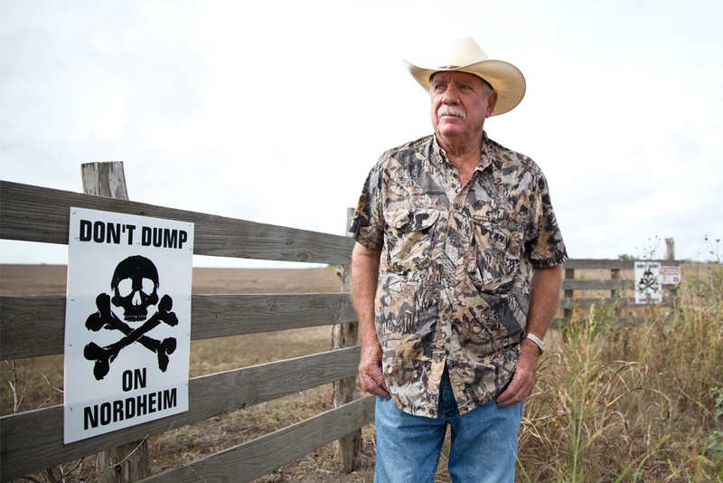 Paul Baumann's property, owned by his family for generations, is directly next to a proposed drilling waste dump in the small town of Nordheim. He, along with other concerned citizens, are protesting the dump as they fear it will pollute and ruin their way of life. Photo by Callie Richmond, courtesy of the Texas Tribune.