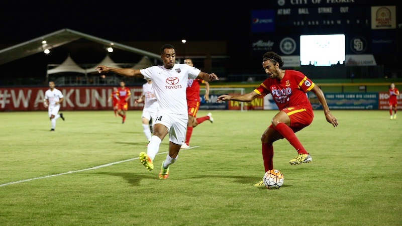 San Antonio FC's Biko Bradnock-Brennan chases the ball during a match against Arizona United SC. Photo courtesy of Arizona United SC/USL.