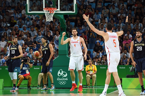 Spain's centre Pau Gasol (C) reacts during a Men's round Group B basketball match between Spain and Argentina at the Carioca Arena 1 in Rio de Janeiro on August 15, 2016 during the Rio 2016 Olympic Games. Photo by Mark Ralston / AFP / Getty Images.