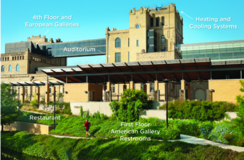 A labeled photograph displaying locations of renovation for the San Antonio Museum of Art. Courtesy photo