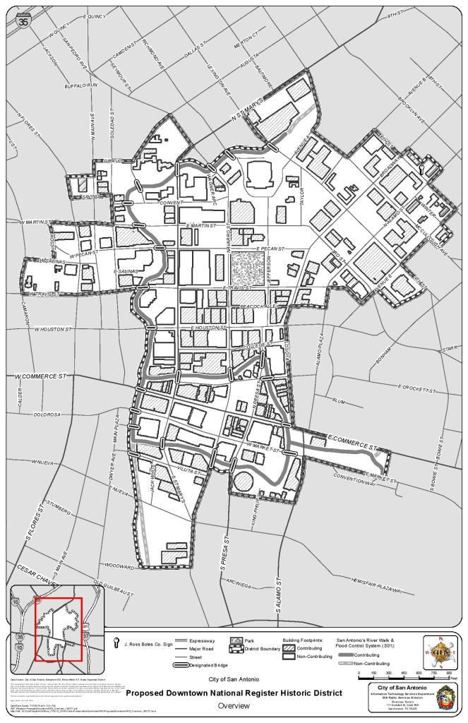 The boundaries for the proposed Downtown San Antonio and River Walk Historic District.  Image courtesy/City of San Antonio.