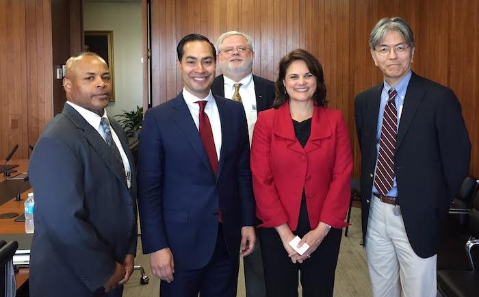Some of the key players who set this collaborative effort into motion include (left to right): TSSC General Manager Bobby Graves, HUD Secretary Julian Castro, TSSC Manager Tom Jones, HUD Deputy Secretary Nani Coloretti and TSSC President Takashi Horinouchi