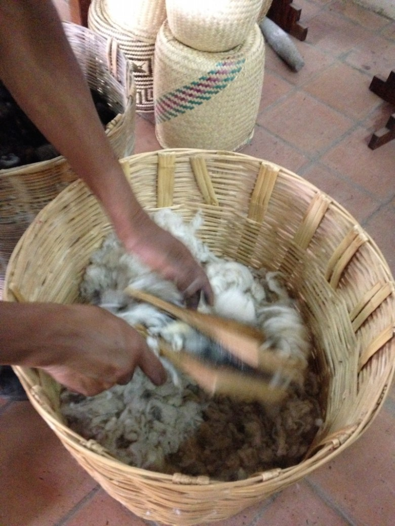 Benito shows off a basket full of raw wool material. Photo by Kimberly Suta.