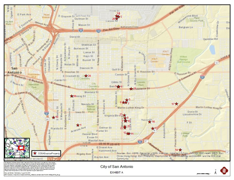 A map of the 25 vacant properties on the Eastside. Graphic courtesy of the City of San Antonio.