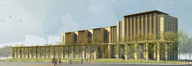 Revised conceptual rendering of the new San Antonio Federal Courthouse project. Image courtesy of Lake/Flato Architects.