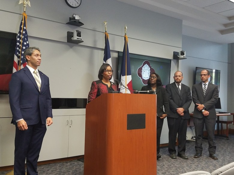 (From left) Councilman Ron Nirenberg (D8) looks on as Mayor Ivy Taylor addresses reporters along side Bridgett White, interim director of Planning and Community Development; Douglas Melnick, chief sustainability officer, and Arthur Reinhardt, assistant director of Transportation and Capital Improvements.  Photo by Iris Dimmick.