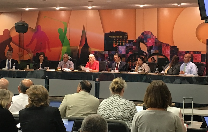 SAISD Board of Trustees discuss a $450 million bond proposal and 13-cent increase during its Aug. 1, 2016 meeting. Photo by Daniel Kleifgen.