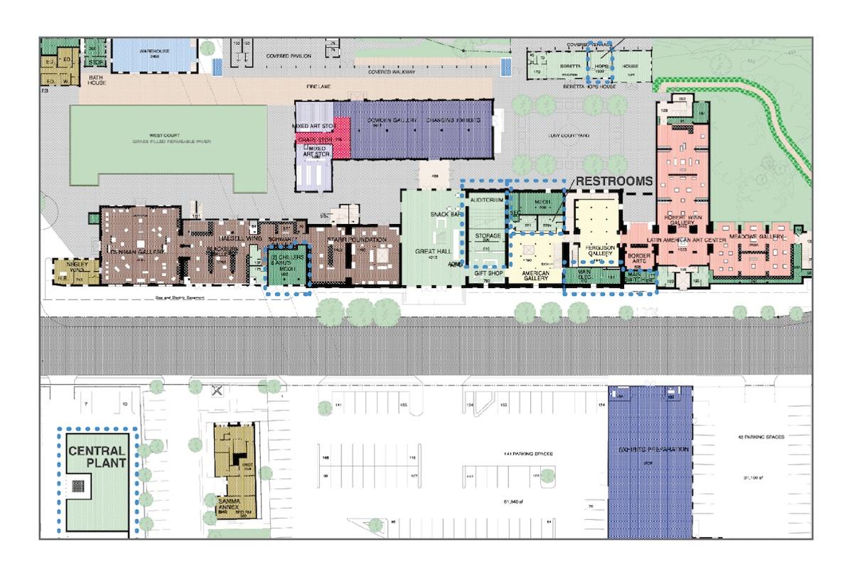 A site plan of San Antonio Museum of Art's renovations. Image courtesy of SAMA.