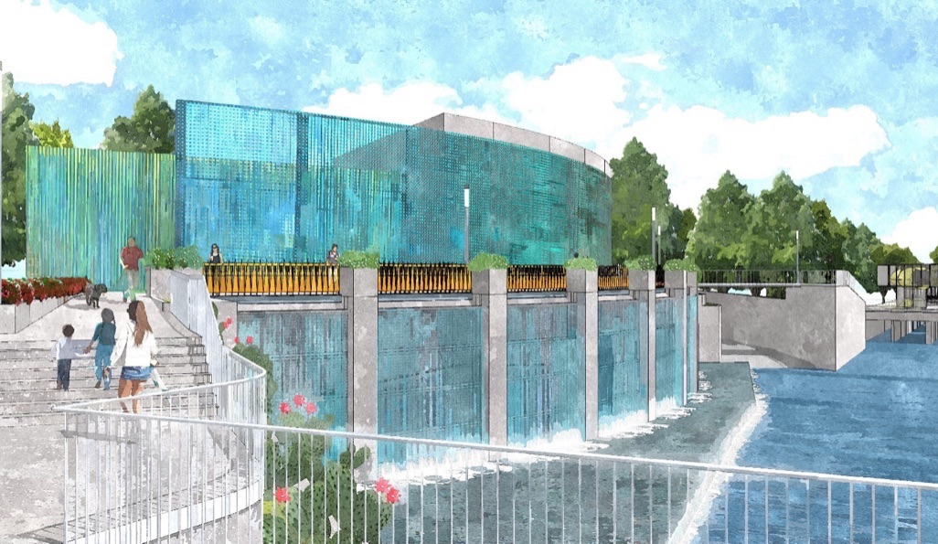 Portion of San Pedro Creek with cascading waterfalls and deck for visitors. Rendering courtesy of Muñoz & Co.