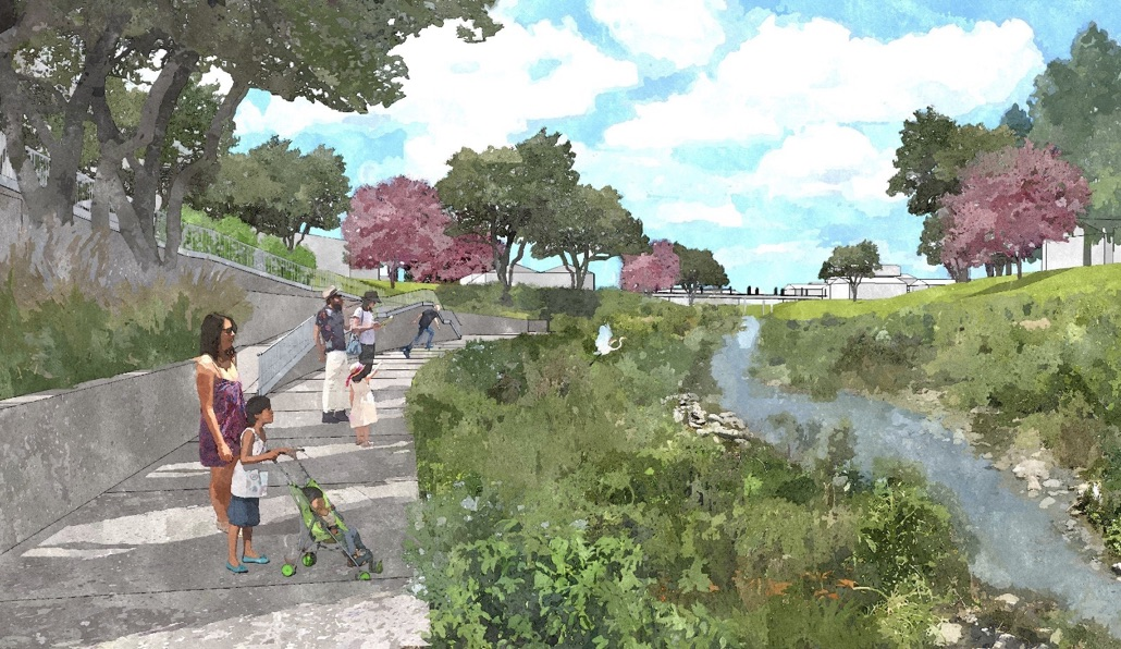 Portion of San Pedro Creek from Camp to South Alamo streets. Rendering courtesy of Muñoz & Co.