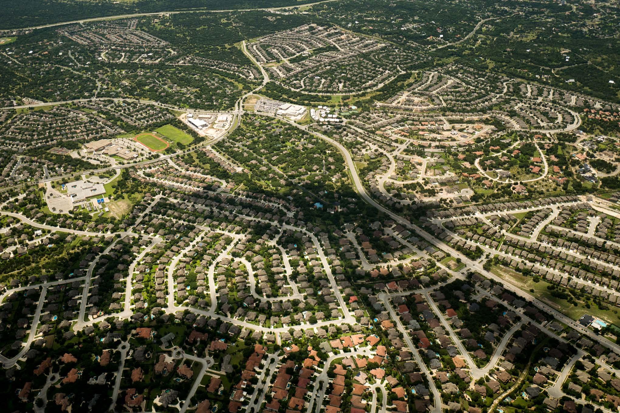 Aerial photo of suburban growth on San Antonio's far Westside.