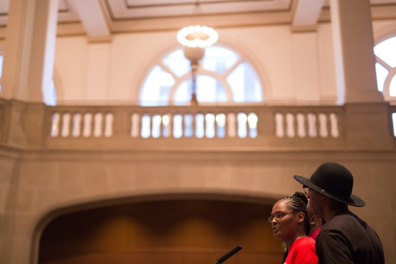 Cheryl Jones speaks to City Council about the death of her son. Photo by Scott Ball.