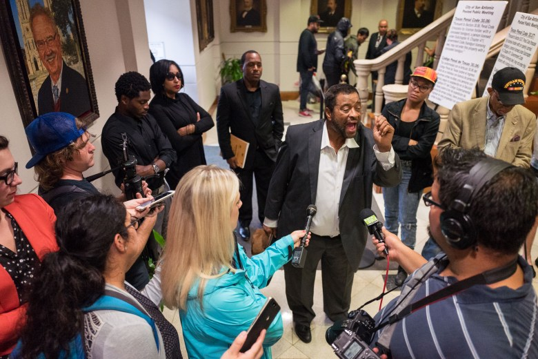 Former civil rights attorney James Myart voices a demand for the City to continue contract negotiations with the San Antonio Police Officers Association. Photo by Scott Ball.