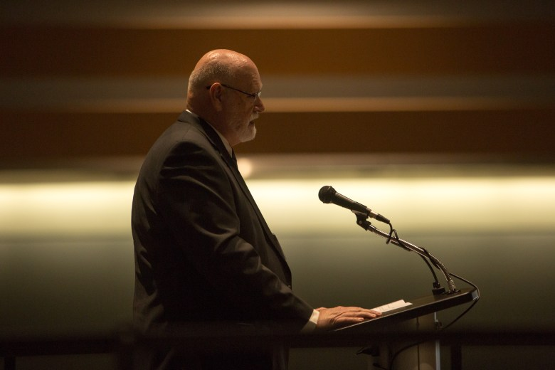 San Antonio cyber security pioneer Larry Merritt gives his acceptance speech. Photo by Scott Ball.