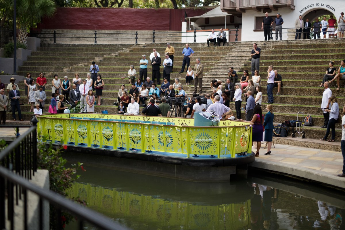 The proposed river barge concept parks along the Arneson River Theater at La Villita. Photo by Scott Ball.