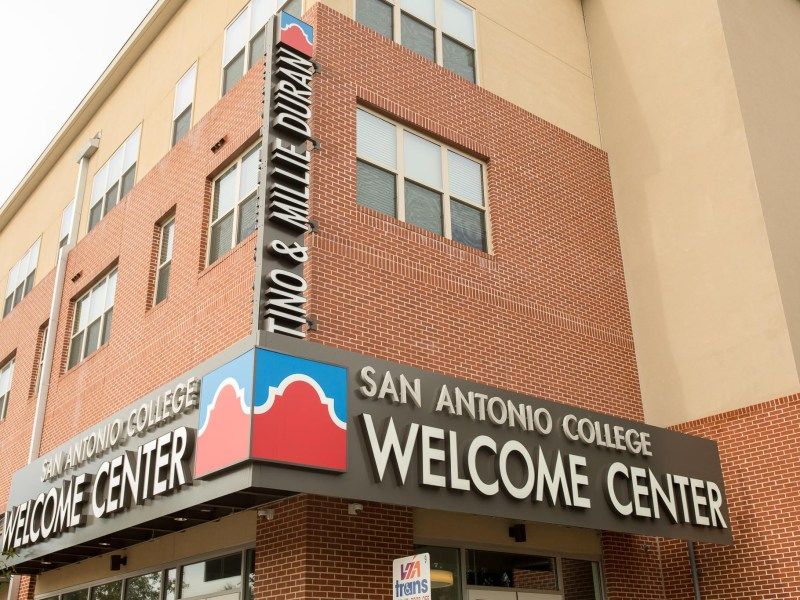 The entrance to the San Antonio College Welcome Center. Photo by Scott Ball.