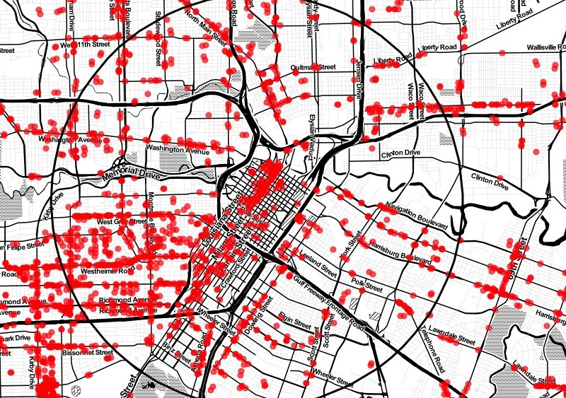 Storefronts in Houston. Map via CityObservatory.
