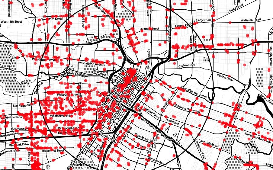 Storefronts in Houston. Map via CityObservatory.