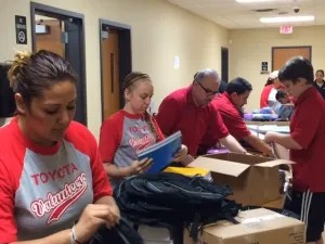 Toyota Texas volunteers help the Southside CentralMed Clinic during their Back to School Supplies event. Photo courtesy Toyota.